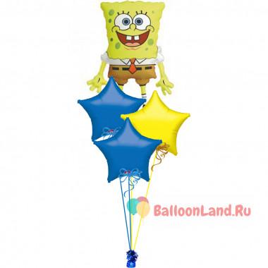 Букет фольгированных шариков Губка Боб