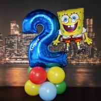 Сет воздушных шаров на День Рождения с Губкой Бобом и вашей надписью