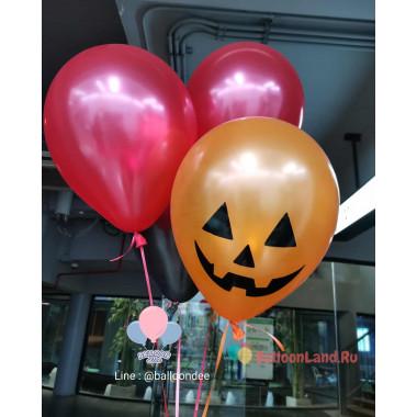 Букет из гелиевых шариков с Улыбкой Тыквы на Хэллоуин