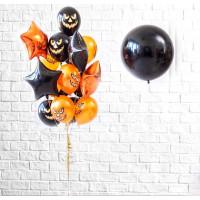 Композиция из шариков на День мертвых со злыми улыбками и звездами