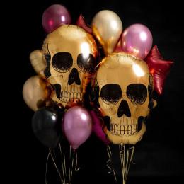 Сет из шариков с гелием с двумя золотыми черепами, звездами и сердцами