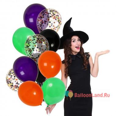 Букет из шариков с гелием для ведьмочки на хеллоуин
