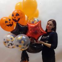 Букет гелевых шаров на Хеллоуин со звездами и оранжевыми улыбками