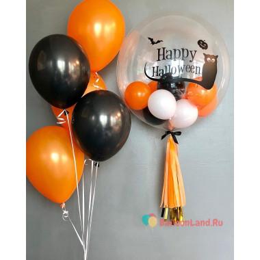 Композиция из шариков с гелием на празднование Хеллоуина