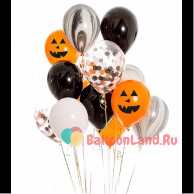 Букет из шариков на Хэллоуин с Оранжевыми Улыбками Тыквы