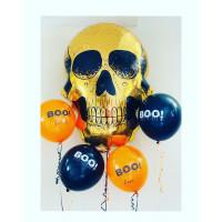 Сет из шаров с золотым черепом на Хеллоуин