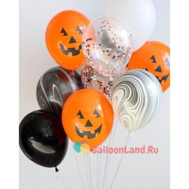 Букет из шаров с гелием с Оранжевыми Улыбками Тыквы