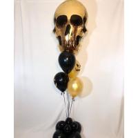 Букет шариков на Хеллоуин с золотым черепом