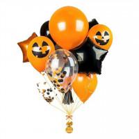 Сет из шаров с Оранжевыми Улыбками Тыквы и черными звездами