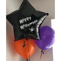 Букет воздушных шаров с черной звездой на Хеллоуин