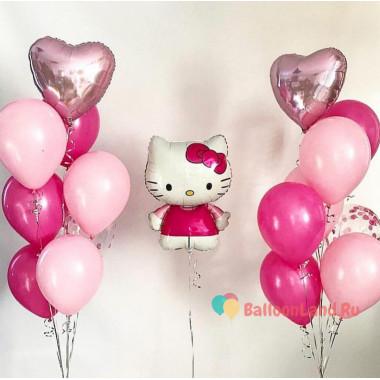 Композиция из воздушных шариков Hello Kitty с двумя фонтанами с сердцами и шарами с конфетти