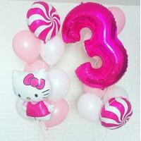 Композиция из воздушных шаров Hello Kittyс цифрой и шарами-леденцами