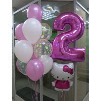 Композиция из шариков Hello Kitty на День Рождения с цифрой