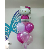Фонтан из гелевых шаров Hello Kitty