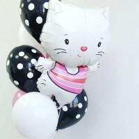Букет гелевых шаров с мультперсонажем Hello Kitty