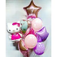 Букет из шариков с гелием Хэллоу Китти с сердцем и звездами, с индивидуальной надписью