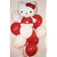 Букет из гелиевых шаров в красно-белой гамме с персонажем м/ф Hello Kitty
