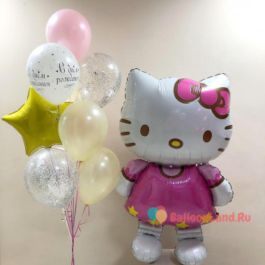 Композиция из шариков с гелием Hello Kittyи и букет шаров со звездой и шарами с конфетти на День Рождения
