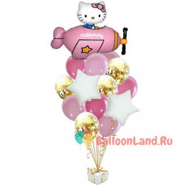 Букет воздушных шаров Hello Kitty на розовом самолёте со звездами и шарами с конфетти