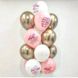 Фонтан из шаров хром с пожеланиями от фламинго