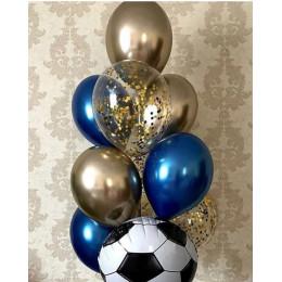 Фонтан из шариков хром с футбольным мячом