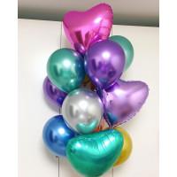 Букет шариков с гелием хром с сердцами