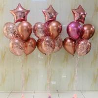 Композиция из шаров с гелием из трех фонтанов со звездами