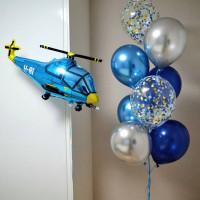 Композиция из гелевых шаров с вертолетом