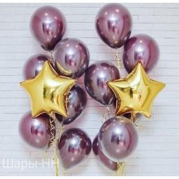 Композиция из шариков хром с золотыми звездами