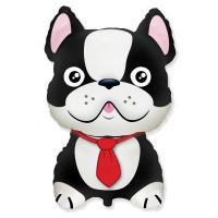 Фигурный шар Бульдог черный с красным галстуком