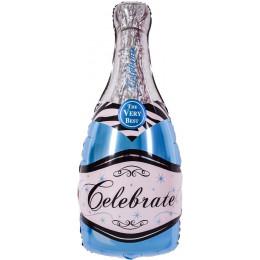 Фигурный шар Бутылка шампанского, голубая