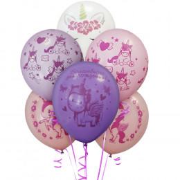 Шары Розовые, сиреневые и белые с единорожками и надписью С Днем рождения!