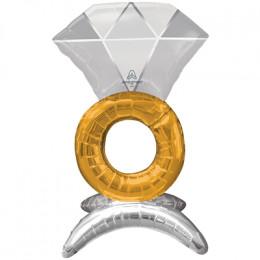 Фигурный шар Кольцо с бриллиантом на подставке