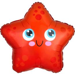 Шар-звезда Морская звездочка улыбается, красная