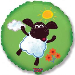 Шарик-круг Зеленый, с овечкой