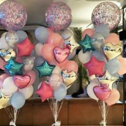 Фотозона из шаров Фонтаны с большими шарами конфетти