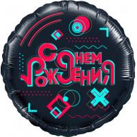 Шар-круг Лайк Тайм, с днем рождения, черный