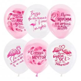 Шары Бело-розовые, с фламинго и надписями Пусть ярким будет каждый день