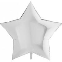 Шар-звезда большая Серебряная металлик