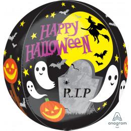 Шарик-сфера Страшилки, с надписью Happy Halloween