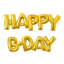 Гирлянда надувная Happy B-Day, золотая
