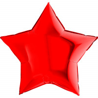 Шар-звезда большая Красная металлик