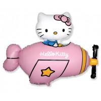 Фигурный шар Hello Kitty на розовом самолёте