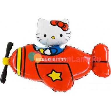 Фигурный шар Hello Kitty на красном самолёте