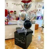 Букет гелиевых шариков в коробке-сюрприз с сердцем на День Рождения