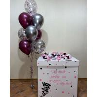 Композиция из воздушных шариков фонтан в коробке-сюрприз