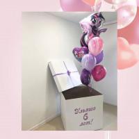 Букет из шариков с пони Искоркой в коробке-сюрприз