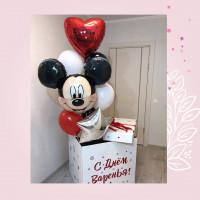 Композиция из гелиевых шаров с Микки Маусом, сердцем и звездой в коробке-сюрприз