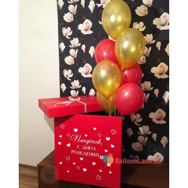Букет из воздушных шаров желтых и красных в коробке-сюрприз