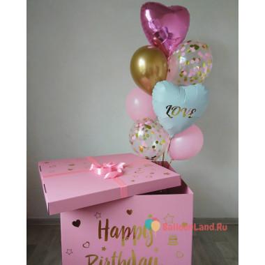 Букет из гелиевых шаров с сердцем Love в коробке-сюрприз